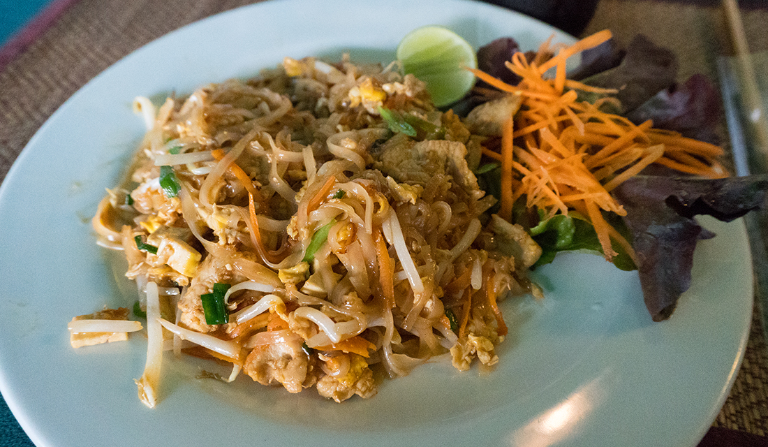 Pad thai at Writer's Club & Wine Bar.
