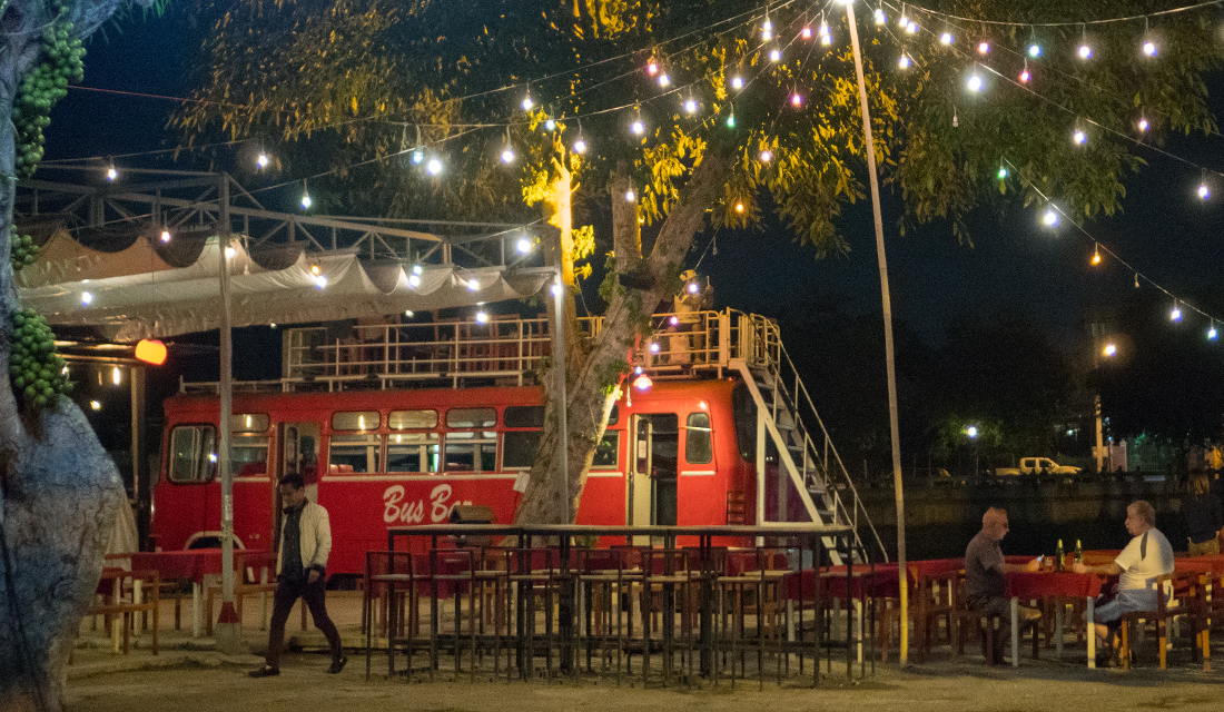 Bus Bar at night by the Mae Ping River.