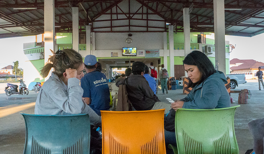 The waiting area of the Huay Xai bus station of our own personal hell.